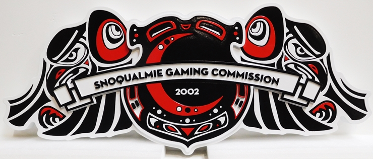 "S28115 - Carved  HDU Commercial Sign  for the ""Snoqualmie Gaming Commission "" ,  2.5-D Artist-Painted"