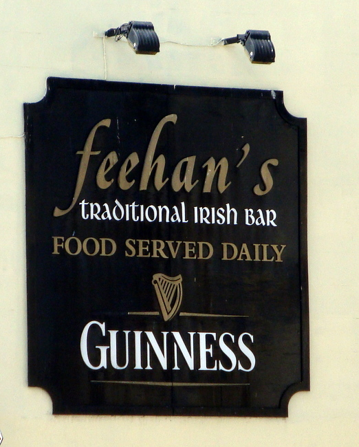 RB27670 - Gold, White and Black Irish Bar Sign with Guiness and Irish Harp