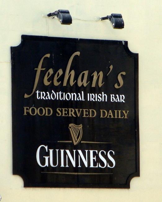 RB27670 - Gold, White and Black Irish Bar Sign with Guiness and Irish Harp