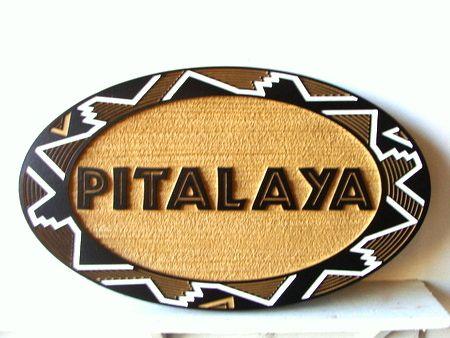 SA28346 - Carved and Sandblasted HDU Sign for Pitalaya  Crafts and Gift Shop