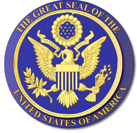 U30036 -Gold and Blue Carved 3-D HDU US Great Seal Wall Plaque