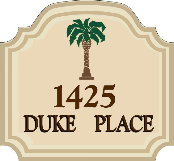 I18346 - Engraved Address Sign of a Residence, with Palm Tree as Artwork.