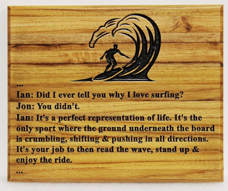 """L21721 - Engraved Cedar Wood Wall Plaque """"Why I love Surfing"""", with Engraved Surfer as Artwork"""