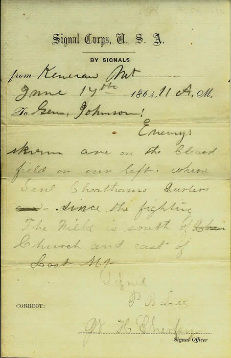 A Single Transcript Printed on U.S.A Signal Corp Stationary