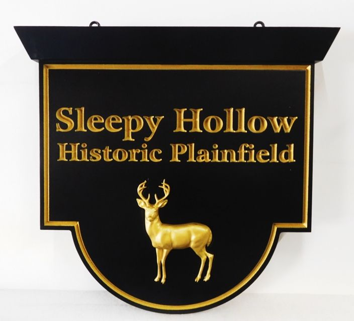 "I18562 -  Engraved  Property Name Sign ""Sleepy Hollow"", with Carved 3D Stag, 24K Gold-leaf Gilded"