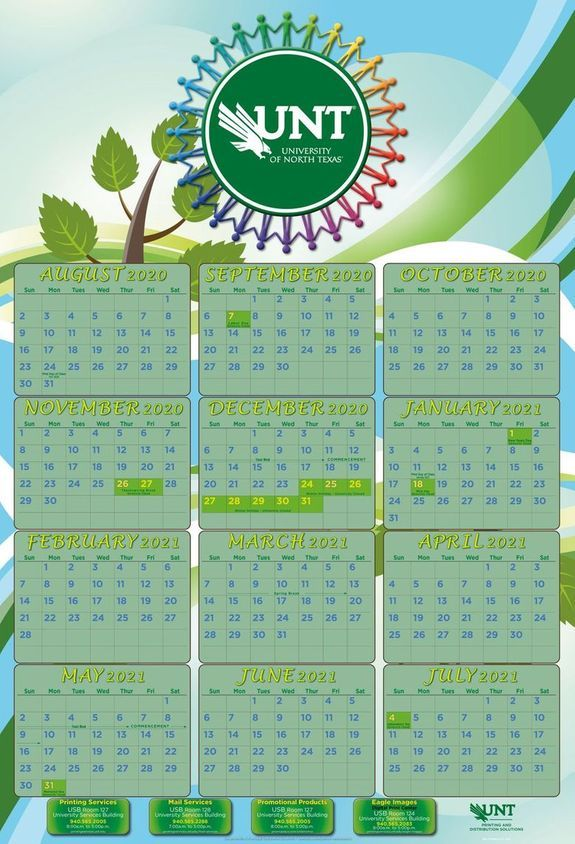 UNT Academic Calendar 2020 2021