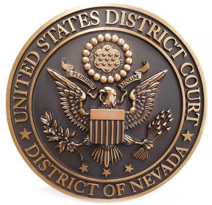 FP-1205 - Carved Plaque of the Seal of the  US District Court of the District of Nevada, 3-D Bronze-plated