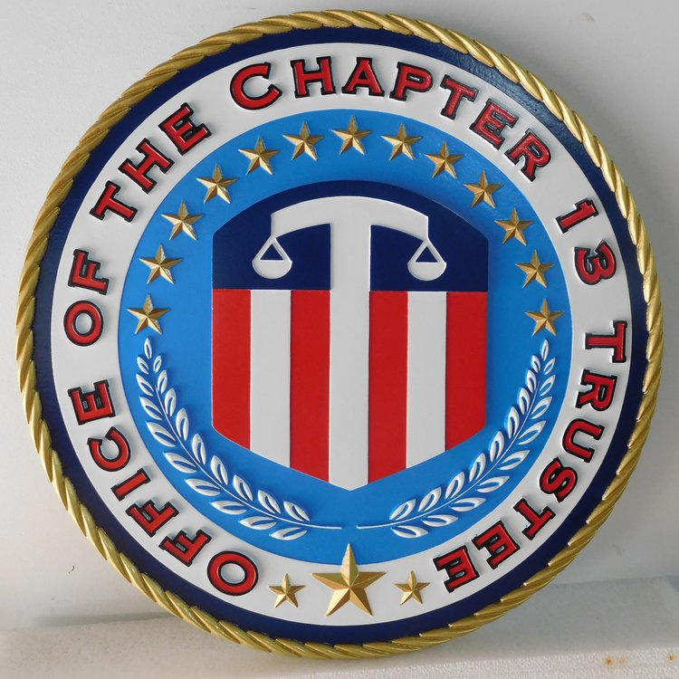 U30166 - Carved 3-D Hand-Painted  Wall Plaque, Office of the Chapter 13 Trustee, US Bankruptcy Division