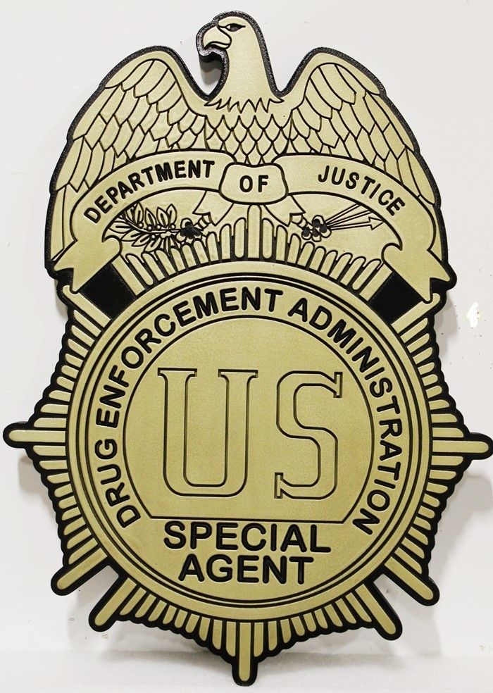 PP-1479 - Carved 2.5-D HDU Plaque of the Badge of a Special Agent of the US Drug Enforcement Administration (DEA)