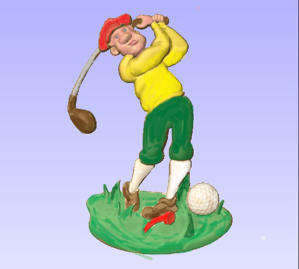 M2994 - Carved Golfer, painted enamels