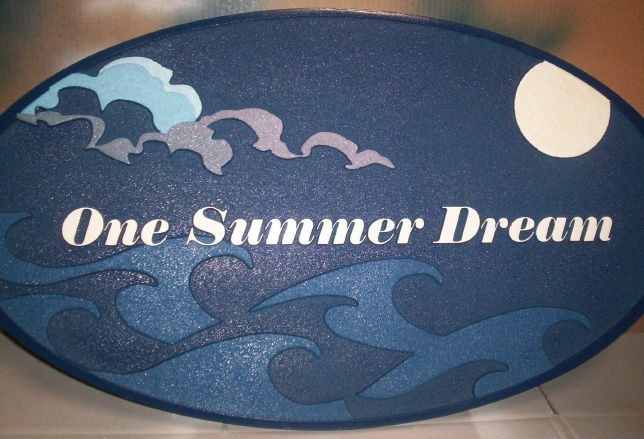 L21138 - Carved HDU Sign with Stylized Clouds and Ocean Waves
