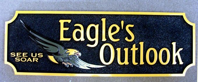 TP-1520 - Carved Wall Plaque of the Logo of a High School, Eagle's Outlook, with Artist Painted Eagle