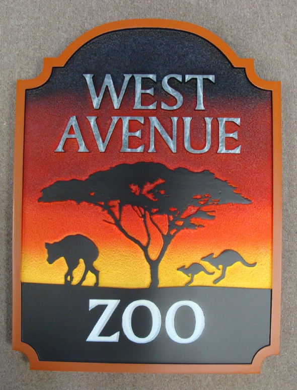 GA16487 - Carved HDU Sign for Zoo with Carved Kangaroos,  Tree and Hyena