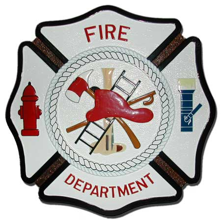 QP-1140 - Carved Wall Plaque of  the Emblem/Badge of a Fire Department, Artist Painted