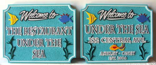 """L21972 - Carved and Sandblasted HDU Sign for """"The Restaurant Under the Sea"""""""