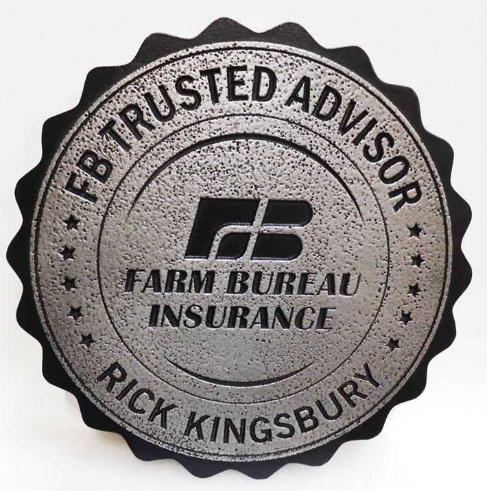 VP-1443 - Carved Plaque of the Logo for the Farm Bureau Insurance Company, 2.5-D Aluminum plated