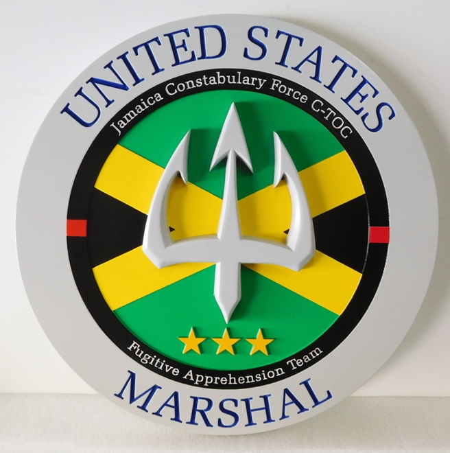 PP-3150 -  Carved Wall Plaque of the Seal of a United States Marshall,  Artist Painted