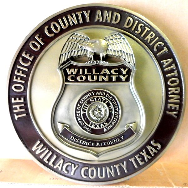 X33668 - Carved 3-D Wall Plaque of Badge of the District Attorney for Willacy County, Texas