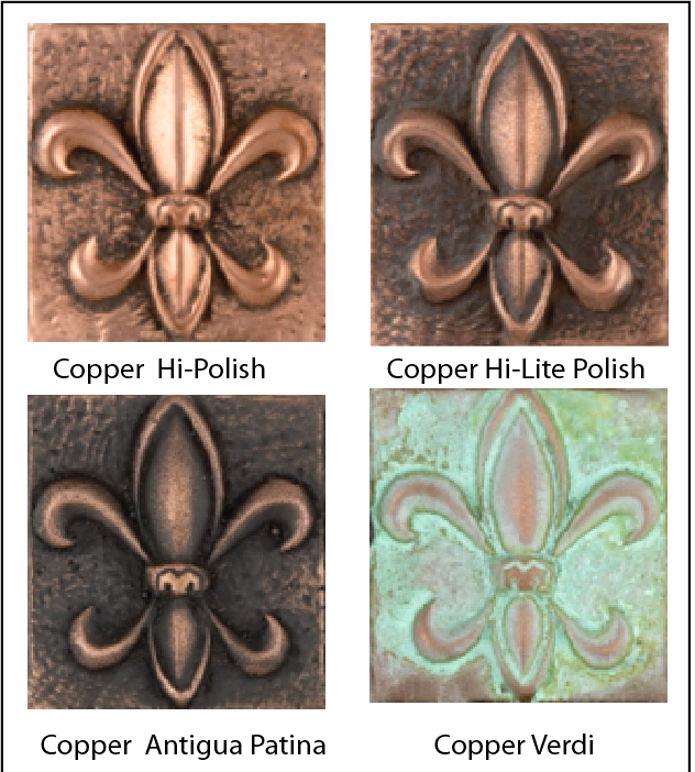 M7202 - Color and Surface Finish  Variations of Copper-Coated Wall Plaques