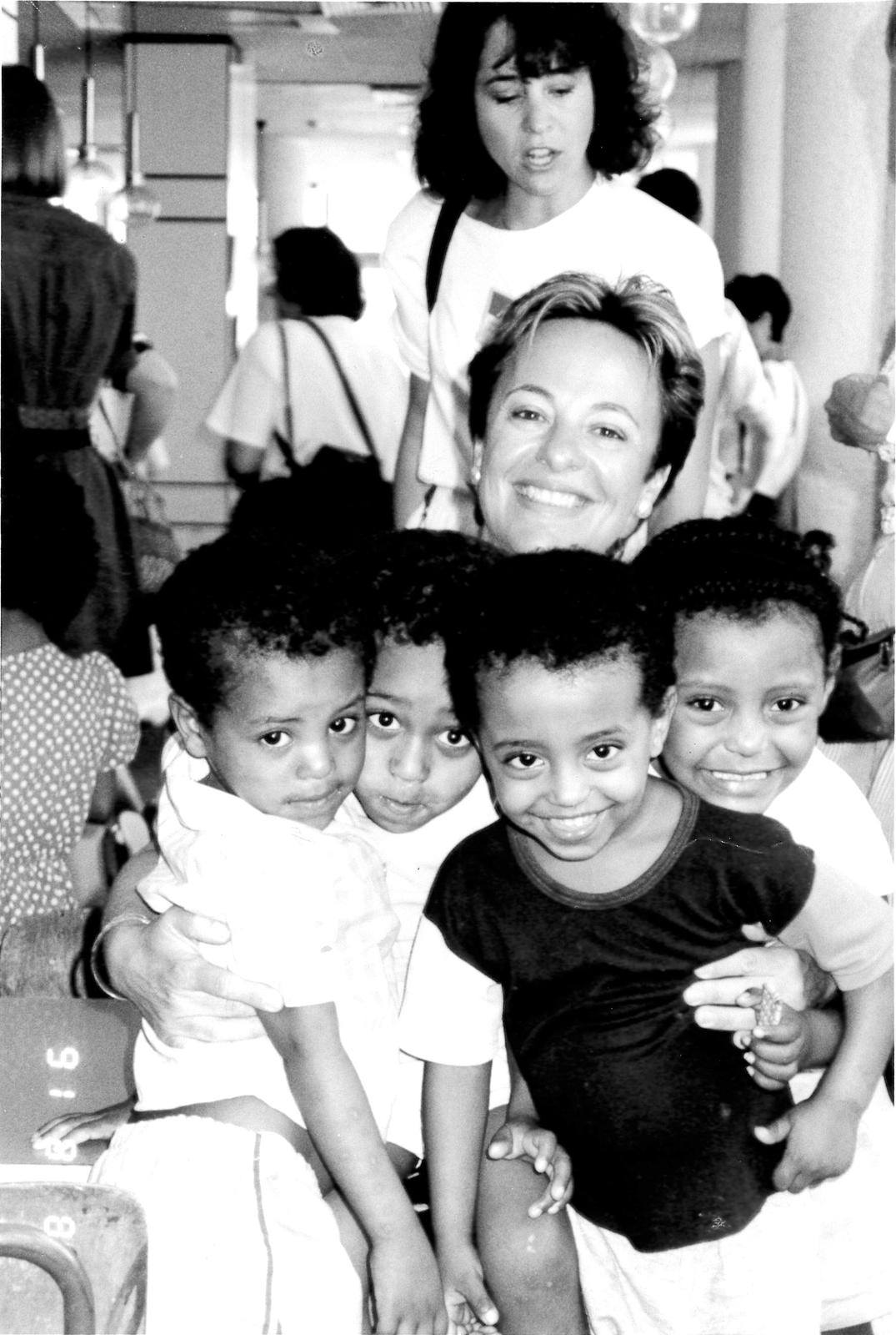 Michele with Ethiopian Jews, 1991.