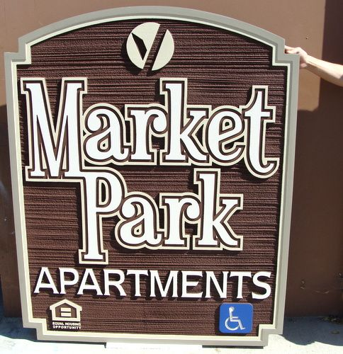 K20226 - Entrance Sign for Market Place Apartments, Sandblasted Wood Grain Urethane (HDU)