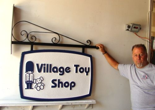 SA28452 - Sign for Village Toy Shop, Decorative Hanging Bracket, Toy Soldier, Teddy Bear.