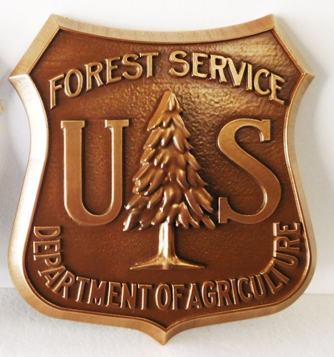 G16074 - Carved Wall Plaque of the Seal/Logo of the National Forest Service, 3-D , Bronze-Plated, with Fir Tree