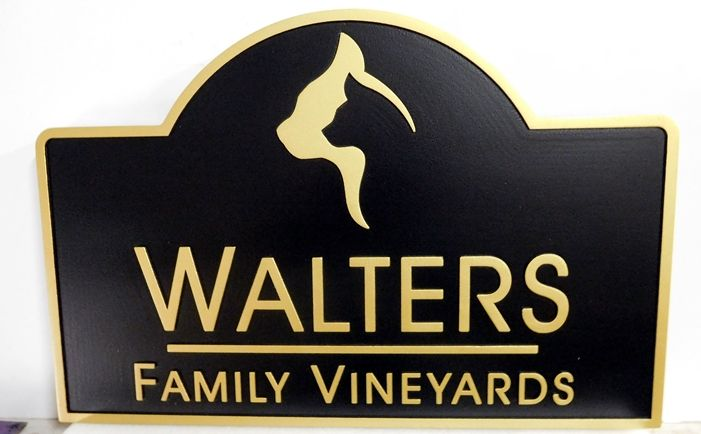 R27007 -  Carved 2.5-D  High-Density-Urethane (HDU) Walters Family Vineyatd Sign
