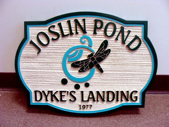 M22428 -Welcoms Sandblasted (Wood Grain) HDU  Sign for Pond at Landing, Dragonfly Artwork