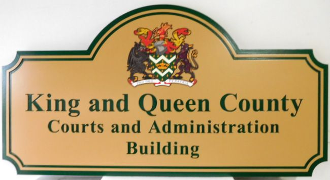 A10919 - Carved Building Sign for the King and Queen County Courts