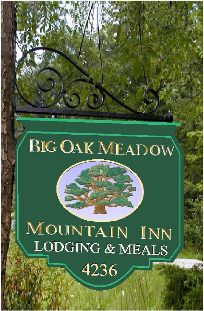 M2125 - Carved Big Oak Mountain Inn Sign