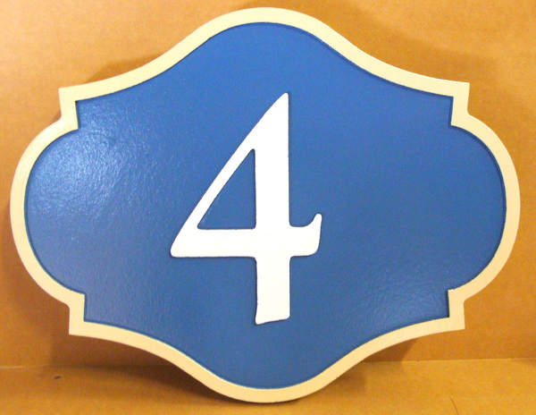 """I18860 - Ornate Carved House Number Plaque with """"4"""""""