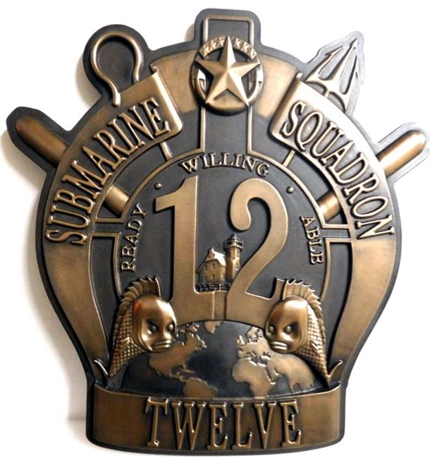 M7026 - Bronze-coated 3D Carved HDU Plaque of the Crest of the 12th Submarine Squadron, US Navy. .