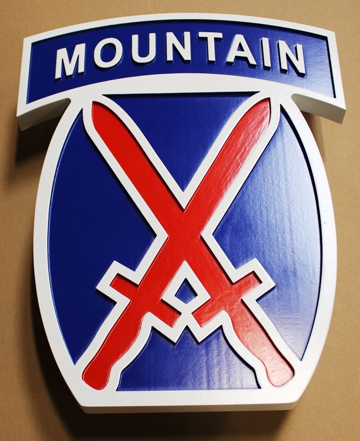 "MP-1605 - Carved HDU Wall Plaque of the Insignia of the 10th Mountain Division, ""Climb to Glory"""