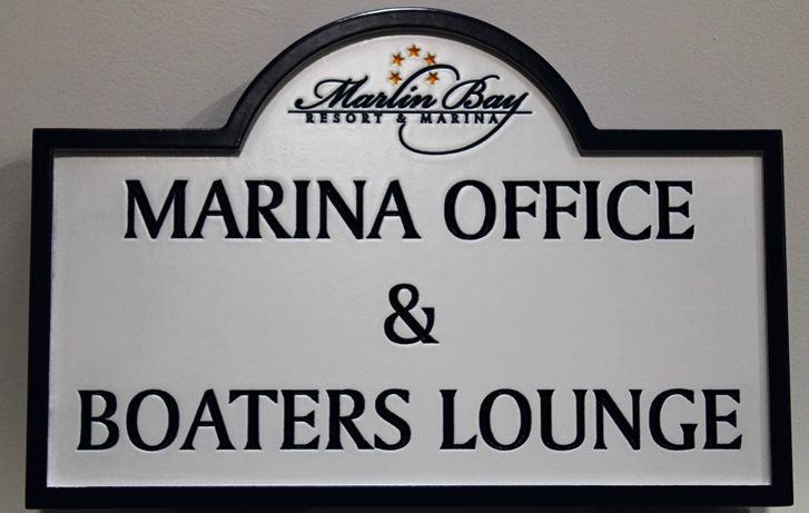 KA20532 - Engraved Marina Office Sign, with Logo of thefor the Marlin Bay Resort & Marina