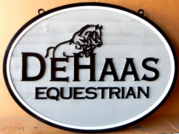 P25108 - Cedarwood Sign for an Equestrian Center, with Raised Outline of Jumping Horse