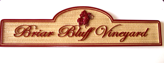 R27081 - Sandblasted HDU Vineyard Sign with 3D Grape Cluster and Wood Grain Background