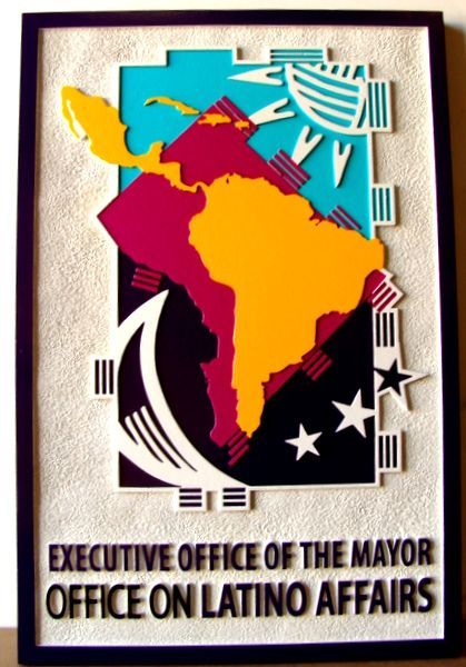 "F15547 - Carved, Raised (2.5D) HDU Sign for ""Office of Latino Affairs"""