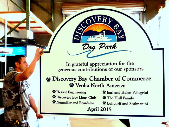 "GA16449 - Large Carved HDU Sign for ""Discovery Bay"" Dog park with List of Contributing Sponsors"
