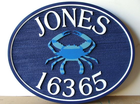 L21558 - Carved and Sandblasted Beachhouse Address Number Sign with Raised Crab