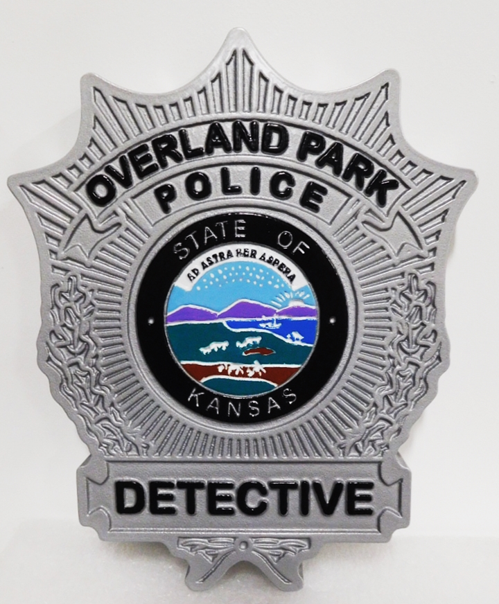 PP-1482 - Carved Plaque of the   Badge of a Detective  of the Overland Park Police , 2.5-D Artist-Painted