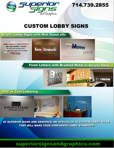 Types of Lobby Signs for Orange County
