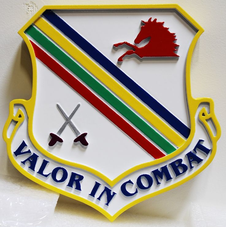 """LP-2045 - Carved Plaque of theCrest of an Air Force Operational Unit, """"Valor in Combat"""", 2.5-D Artist-Painted"""