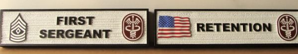V31821A - Carved and Sandblasted HDU Signs for Rooms (First Sergeant and Retention Room)
