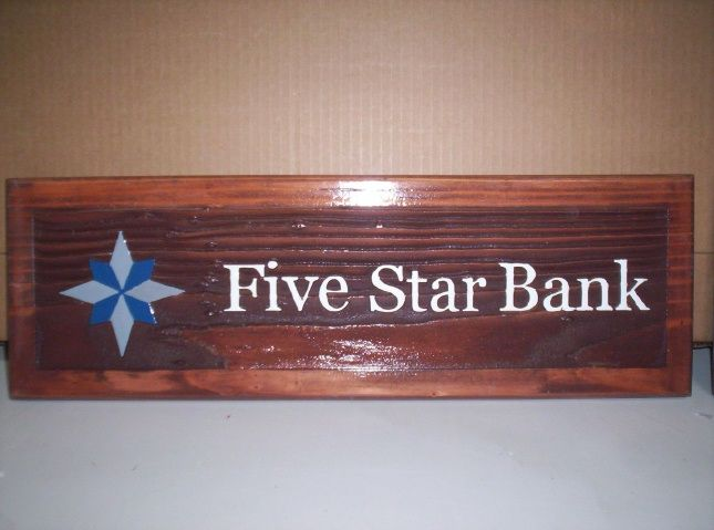 M3305 - Carved Cedar Wood Sign for Five Star Bank with Bank Logo (Gallery 12)