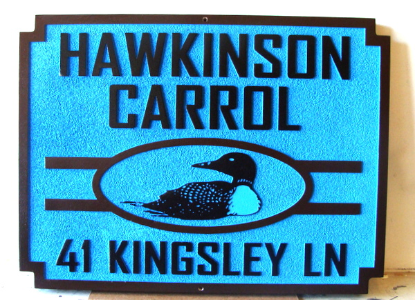 M22008B - Sandblasted Address Sign with Loon