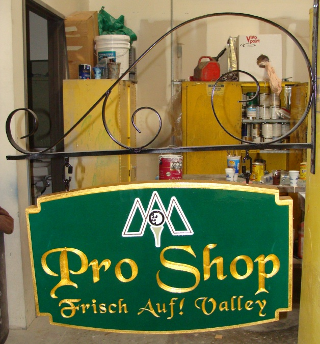 M2632 - Golf Course Pro Shop Sign , Gold-Leaf Gilded