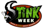 Stink Week Logo. A skunk's tail is the S and the rest of the words are written in green.