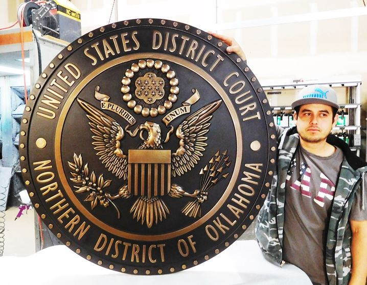 A10817 - 3-D Polished Brass Wall Plaque for United States District Court of the Northern District of Oklahoma