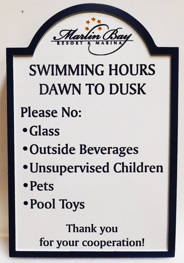 "KA20822 - Carved High-Density-Urethane (HDU)  ""Swimming Pool "" rules sign for the Marlin Bay Resort & Marina, 2.5-D Engraved"